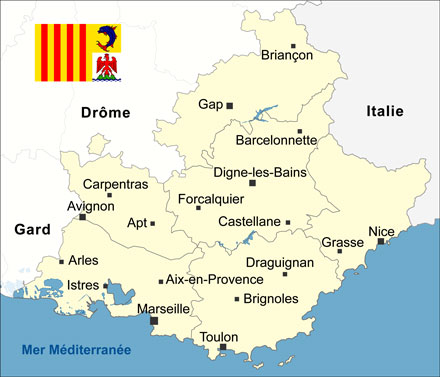 Carte de la région PACA