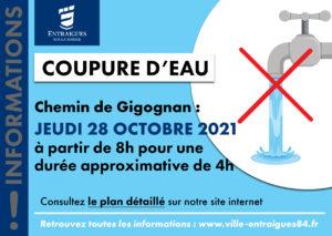Read more about the article Coupure d'eau – Chemin de Gigognan